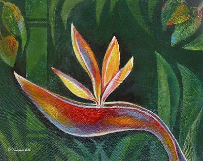 Painting - Bird Of Paradise In Paradise by Hemu Aggarwal