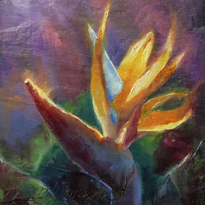 Hawaii Art Painting - Bird Of Paradise Tropical Flower by Karen Whitworth
