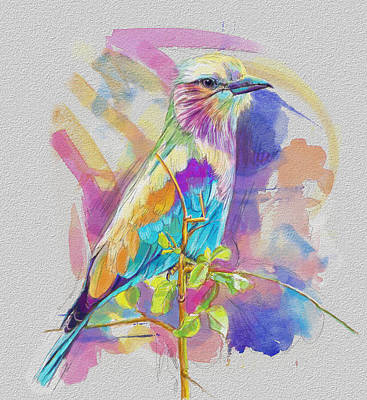 Parakeet Painting - Bird On A Twig by Catf