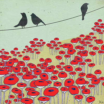 Birds On A Wire Painting - Bird On A Wire I by Shanni Welsh