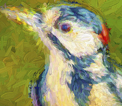Pets Art Digital Art - Bird On Green by Yury Malkov