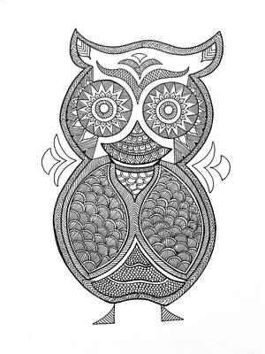 Fun Drawing - Bird Owl 1 by Neeti Goswami