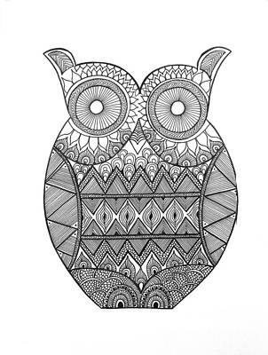 Fun Drawing - Bird Owl 2 by Neeti Goswami