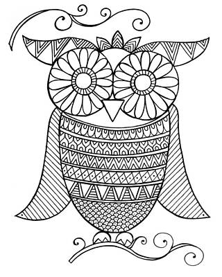 Fun Drawing - Bird Owl 4 by Neeti Goswami