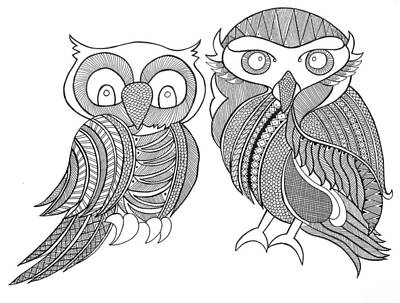 Intricate Drawing - Bird Owls by Neeti Goswami