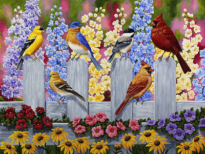 Purple Flowers Painting - Bird Painting - Spring Garden Party by Crista Forest