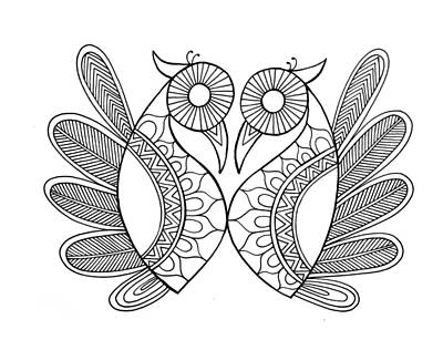 Mandala Drawing - Bird Parrots by Neeti Goswami