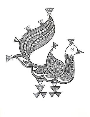 Fun Drawing - Bird Peacock 3 by Neeti Goswami