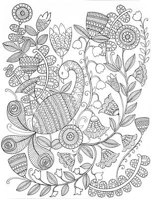 Peacock Drawing - Bird Peacock 9 by Neeti Goswami