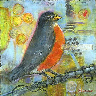 Mixed Media Art Painting - Bird Print Robin Art by Blenda Studio