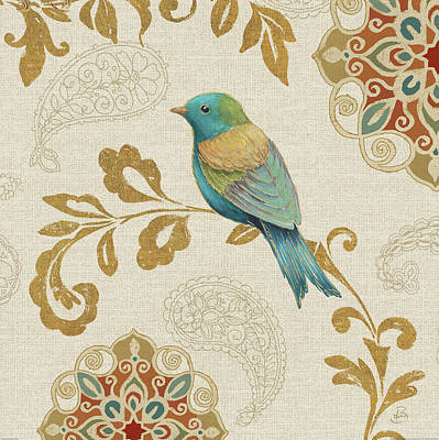 Medallion Painting - Bird Rainbow Blue And Yellow by Daphne Brissonnet