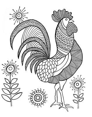 Rooster Drawing - Bird Rooster by Neeti Goswami