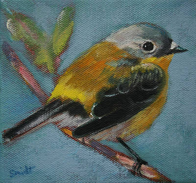Painting - Bird Series Ruby Crowned Kinglet by Carol Jo Smidt