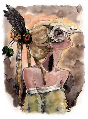 Bird Skull Mask Art Print by Carla Wyzgala