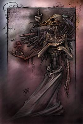 Reaper Digital Art - Bird Skull Prophesy by David Bollt