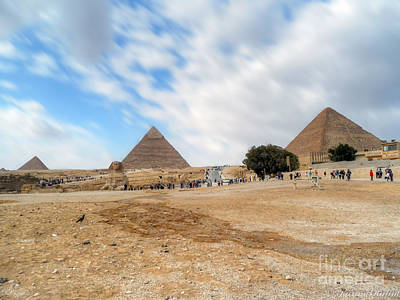 Photograph - Bird Sphinx And Pyramids by Karam Halim
