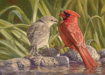 Adult Painting - Bird Talk by Lucie Bilodeau