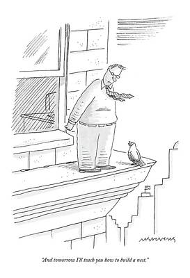 Teach Drawing - Bird Talking To Man Standing On The Ledge by Mick Stevens