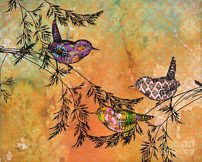 Bird Trio On Branches-a Original