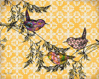 Bird Trio On Branches-b Original