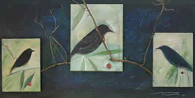 Animals Paintings - Bird Triptych And Branches by Tim Nyberg