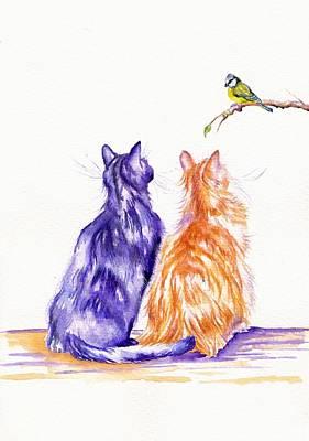 Bird Watching Art Print by Debra Hall