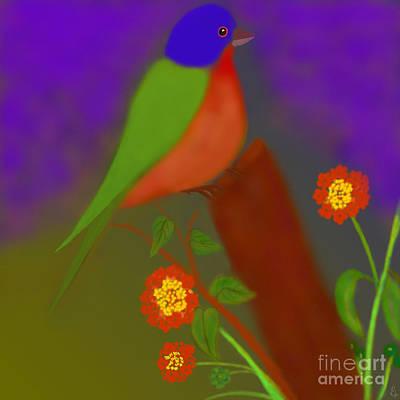 Art Print featuring the digital art Bird With Lantana Flowers by Latha Gokuldas Panicker