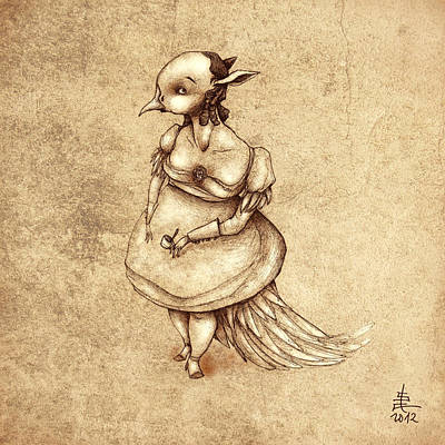 Illustration Drawing - Bird Woman by Autogiro Illustration