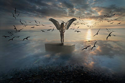 Creepy Digital Art - Birds Of Freedom by Nathan Wright