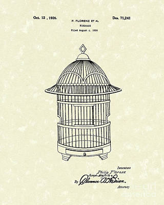 Caged Bird Drawing - Birdcage 1926 Patent Art by Prior Art Design