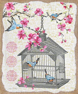 Finch Mixed Media - Birdcage With Cherry Blossoms-jp2611 by Jean Plout