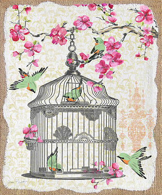 Finch Mixed Media - Birdcage With Cherry Blossoms-jp2613 by Jean Plout