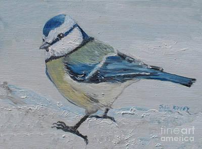 Winter Scenes In Oil Painting - Birdie Blue by Julie Brugh Riffey