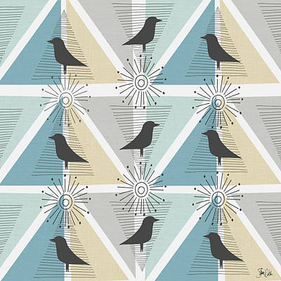 Juvenile Painting - Birds & Triangles I by Shanni Welsh