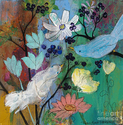 Painting - Birds And Berries by Robin Maria Pedrero