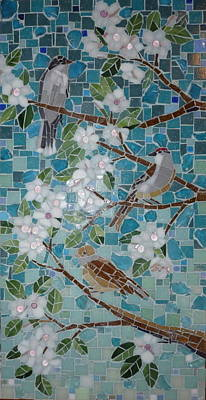 Mosaic Mixed Media - Birds And Blossoms by Julie Mazzoni
