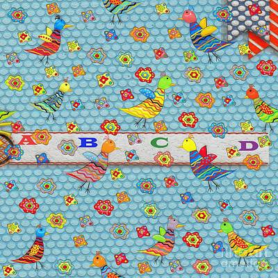 Digital Art - Birds And Flowers For Children by Liane Wright
