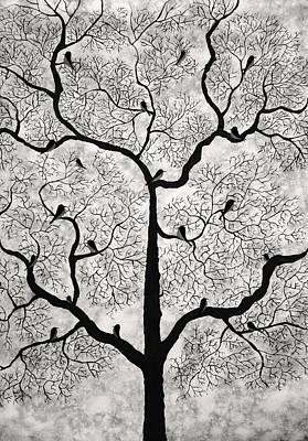Tree Mixed Media - Birds And Trees by Sumit Mehndiratta