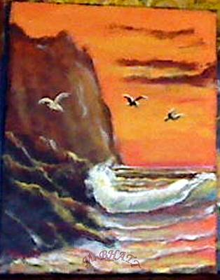 Painting - Birds And Waves by M Bhatt