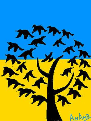 Life Study . Ganesha Digital Art - Birds Around The Tree by Anand Swaroop Manchiraju