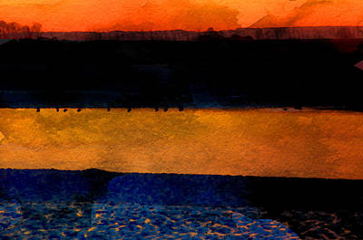 Birds At Mt St Michael Sunset Art Print