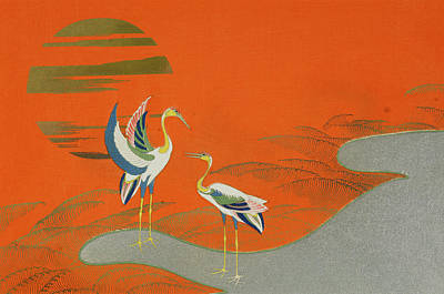 Crane Painting - Birds At Sunset On The Lake by Kamisaka Sekka