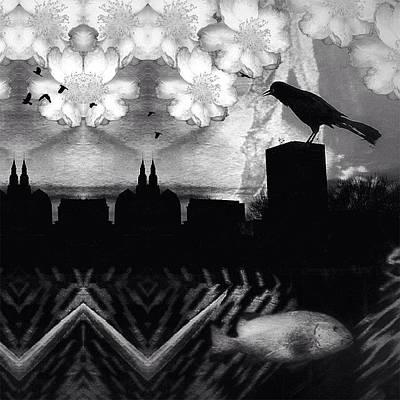 #birds #blackbirdsinging #blackbird #bw Art Print