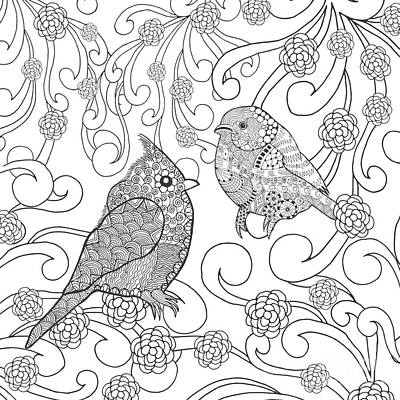 Branch Wall Art - Digital Art - Birds Coloring Page. Animals. Hand by Palomita