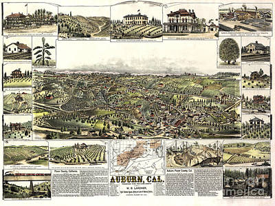 Auburn Drawing - Bird's-eye Of Auburn In California - 1887 by Pablo Romero