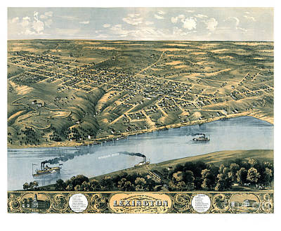 Lexington Drawing - Bird's Eye Of Lexington - Missouri - 1869 by Pablo Romero