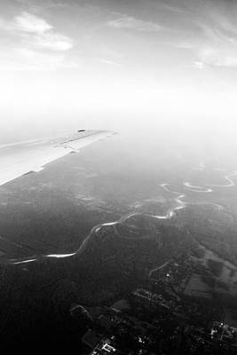 Airlines Photograph - Birds Eye View - Black And White by Shelby  Young
