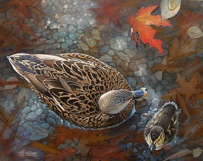 Waterfowl Painting - Bird's Eye View by Angela S Williams