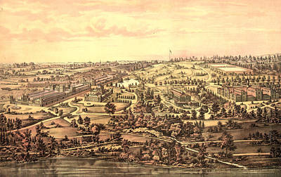 Philadelphia Drawing - Birds Eye View, Centennial Buildings, Fairmount Park by Litz Collection