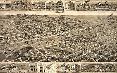 Alabama Drawing - Birds-eye View Of Birmingham, Alabama, Fourteen Views by Litz Collection